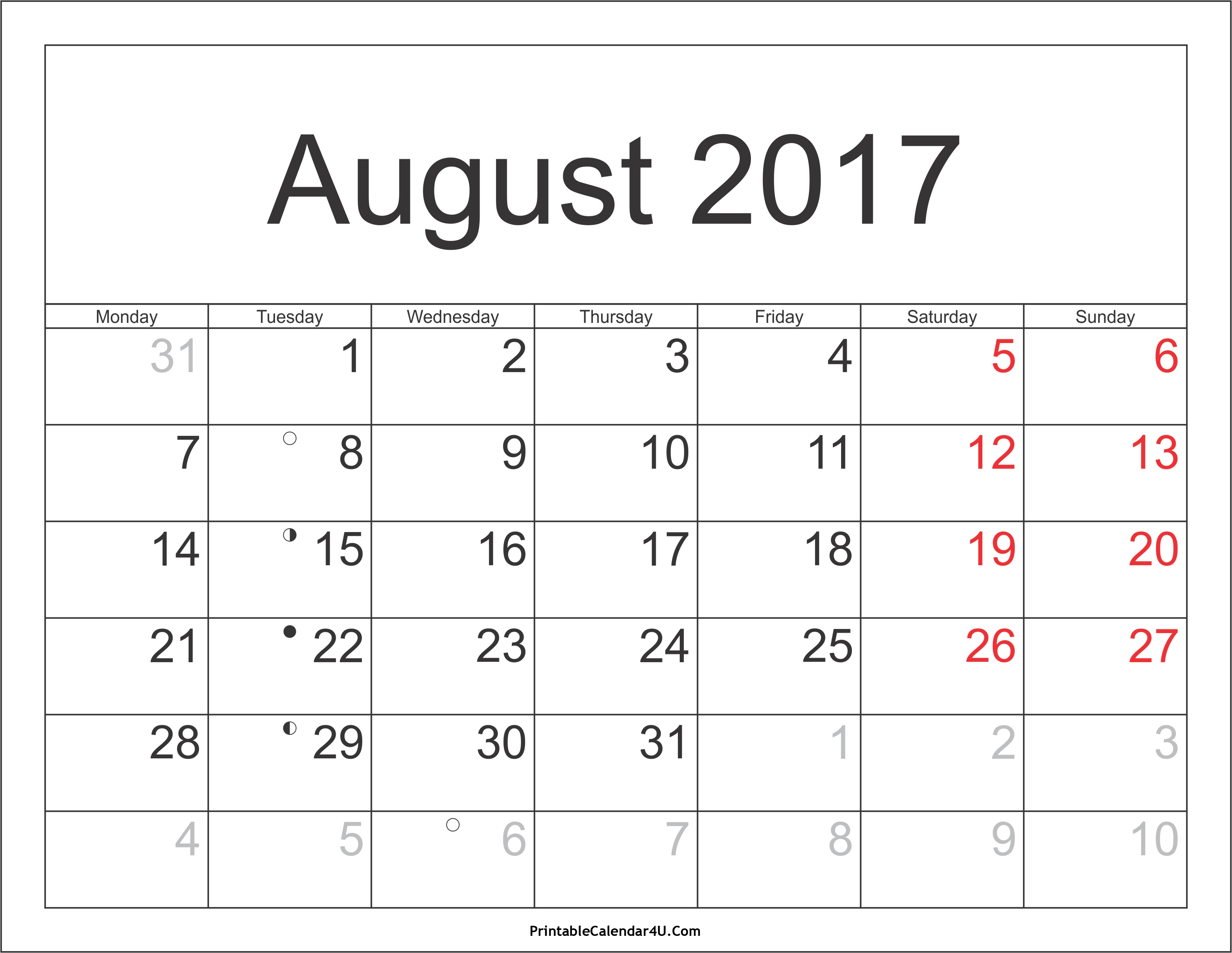 August 2017 Calendar With Holidays | yearly calendar template