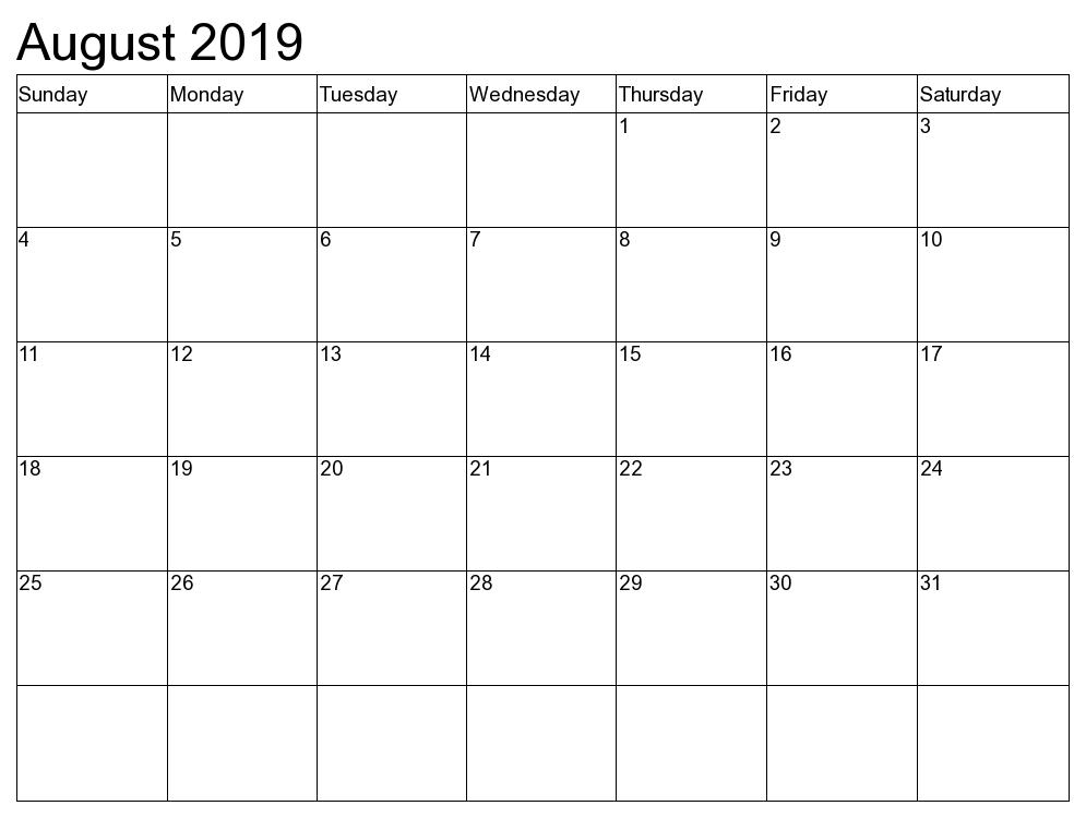 August 2019 Printable Calendar « Printable Hub