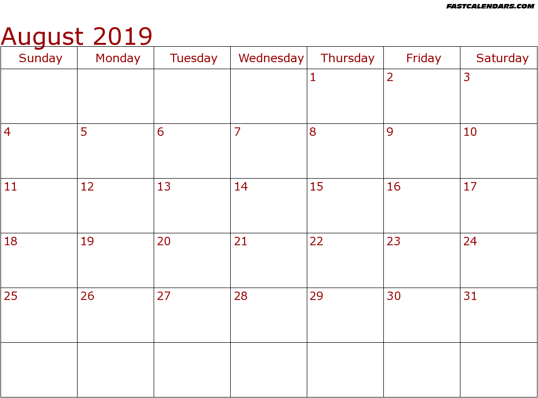 August 2019 Roman Catholic Saints Calendar