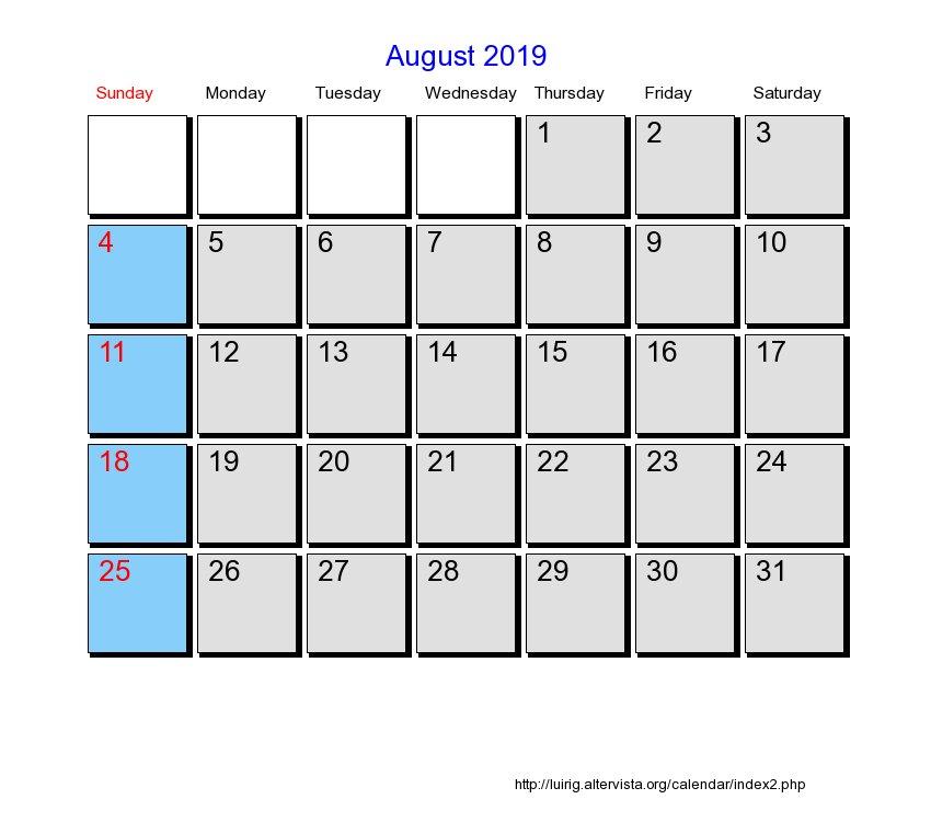 2019 Calendar Style 6 Free Printable Calendars