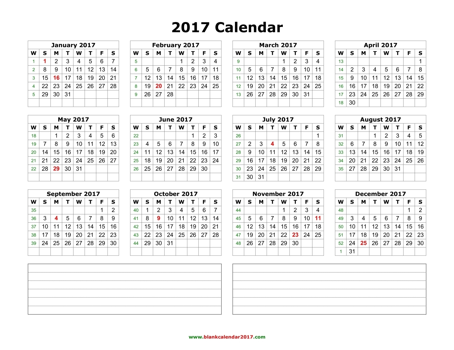 Free January 2017 Calendar (With US Holidays) – Printable Calendar