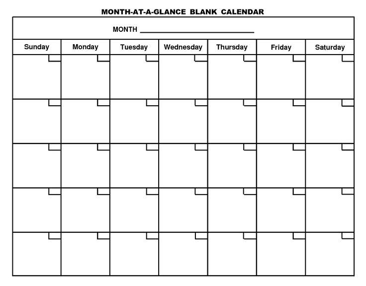 Blank Calendar 2017 Template – Free Printable Blank Monthly Calendars