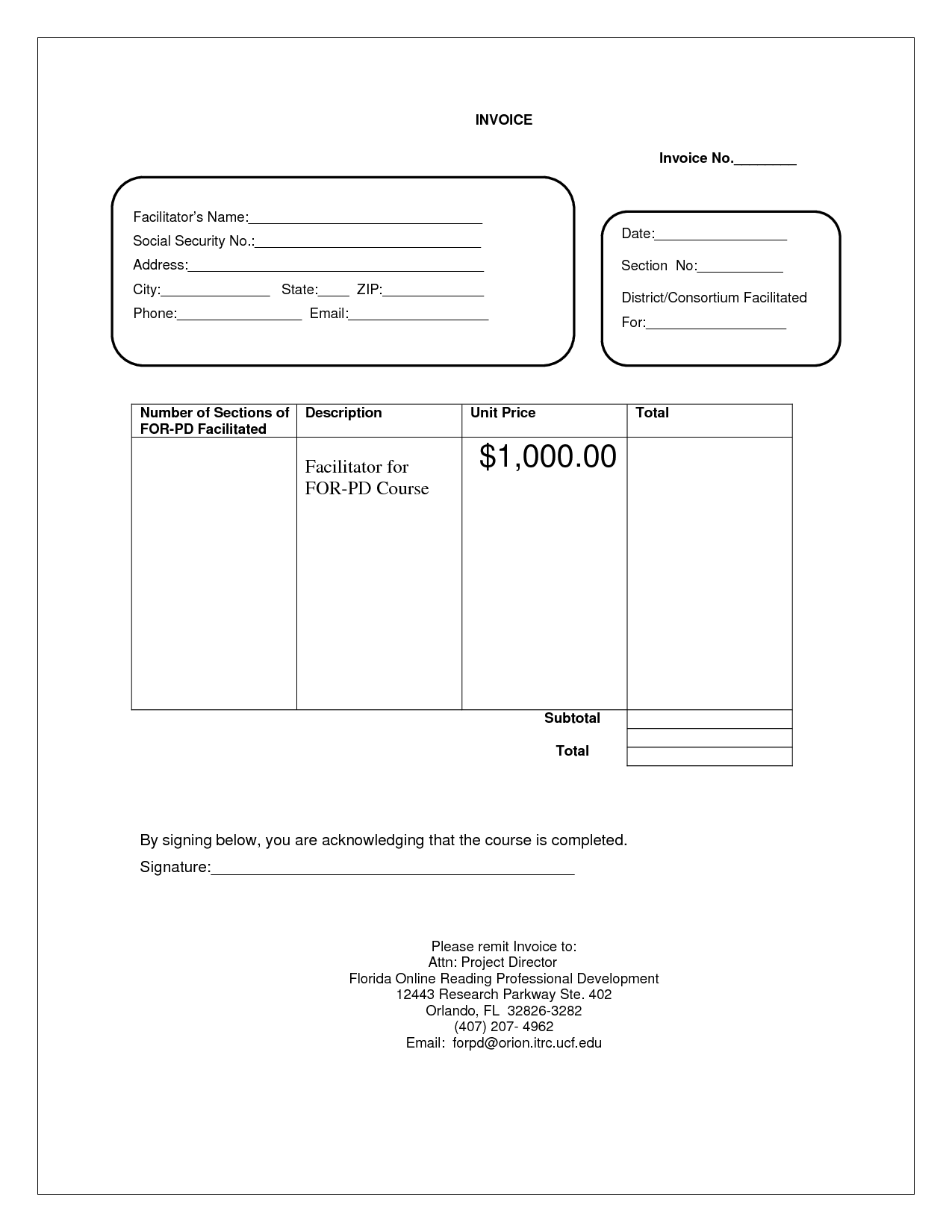 Blank Invoice Document loan agreement word template, service