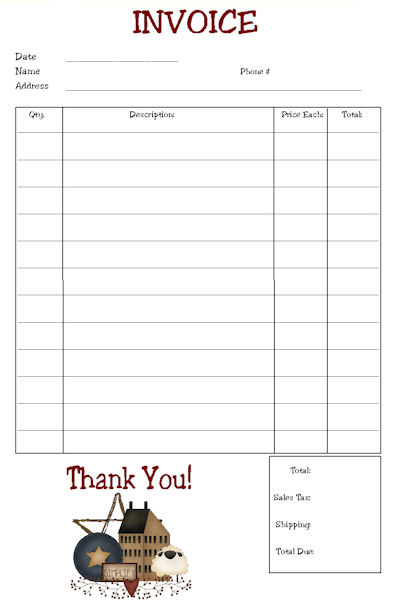Blank Perforated Invoice Paper | printable invoice template