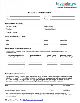 This is a graphic of Medical Forms Template regarding parental consent