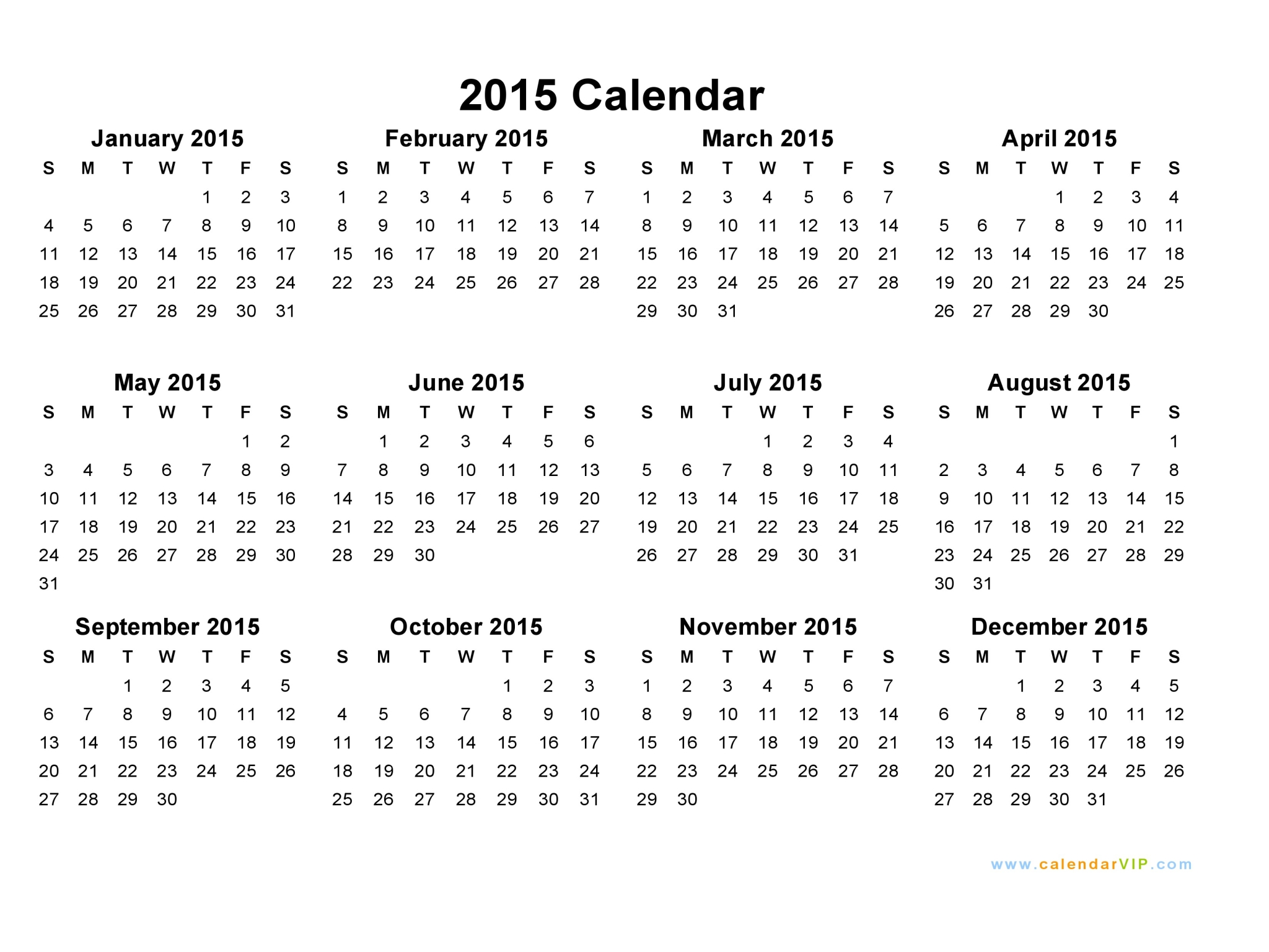Blank Yearly Calendar 2015 | yearly calendar template