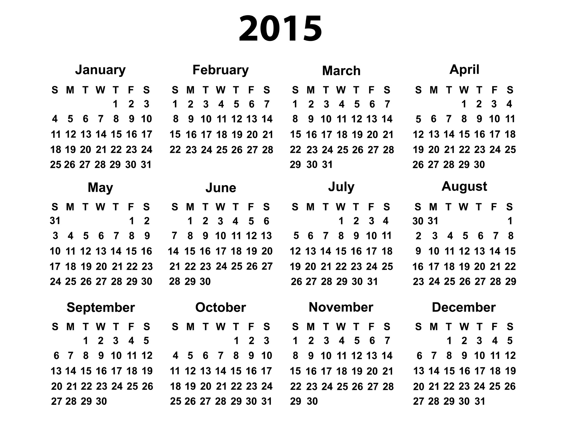 Yearly Calendar 2015 | yearly calendar printable