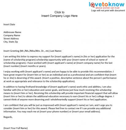 Letter of Recommendation for a College Student Template to Download