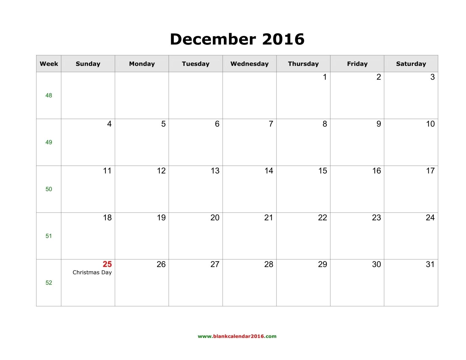 Blank Calendar for December 2016