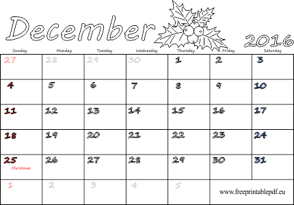 December 2016 Calendar Printable With Holidays | weekly calendar