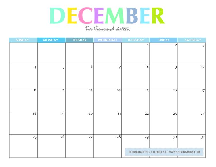 December 2016 Calendar Cute | 2017 calendar with holidays