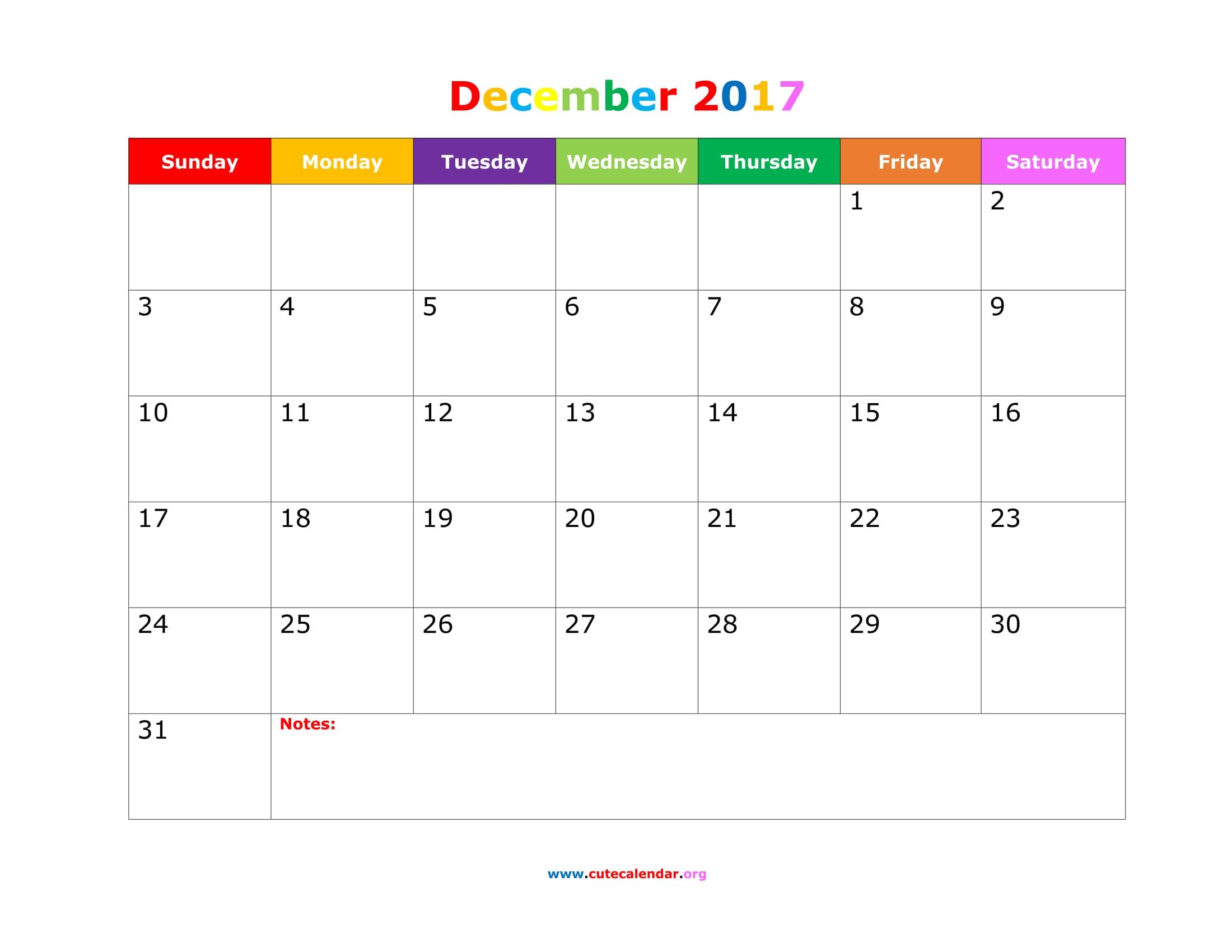 December 2017 Calendar Cute | weekly calendar template