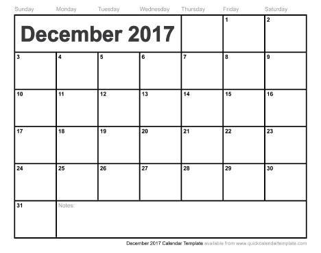 December 2017 Calendar Printable | weekly calendar template