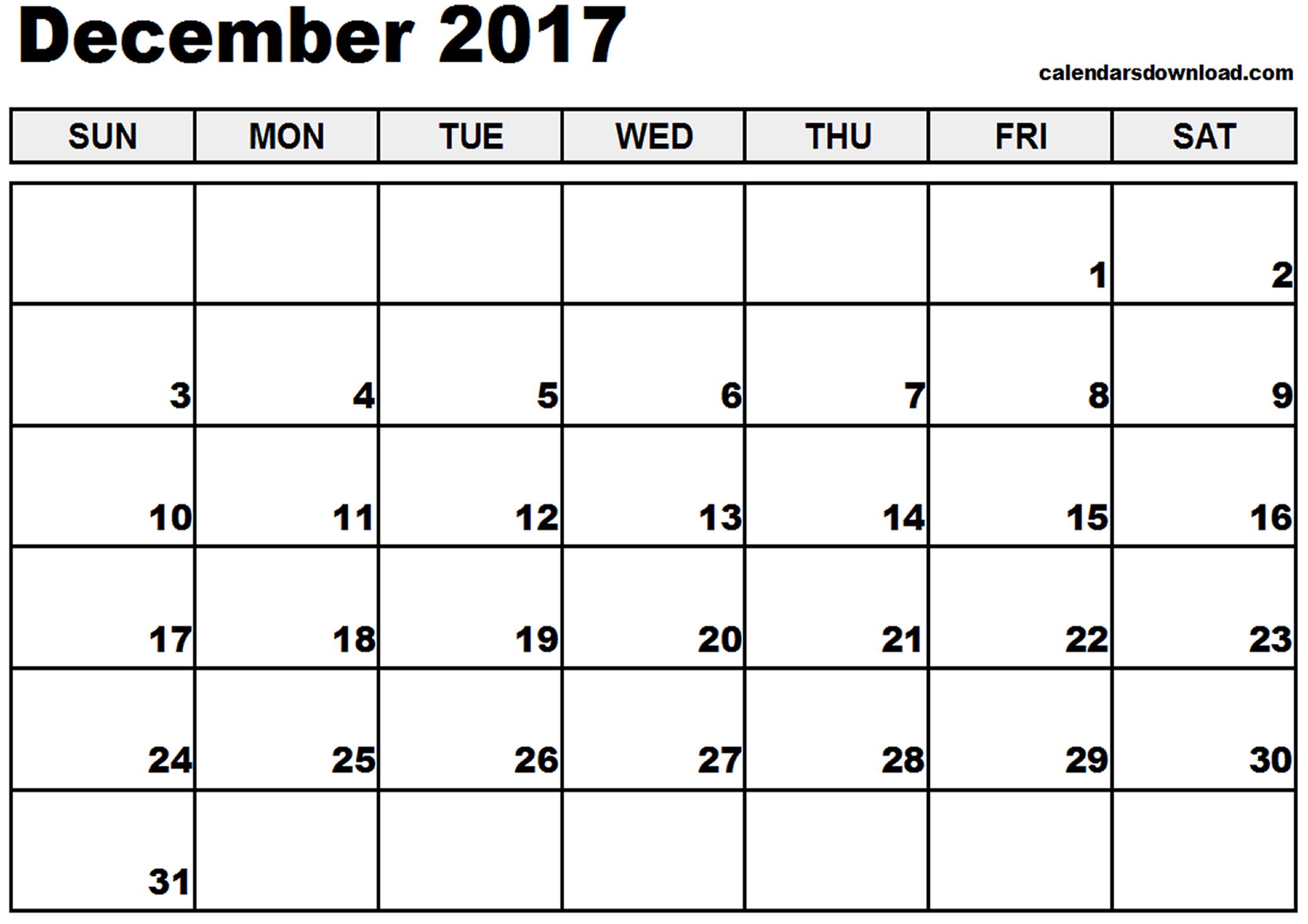 December 2017 Calendar Template | weekly calendar template