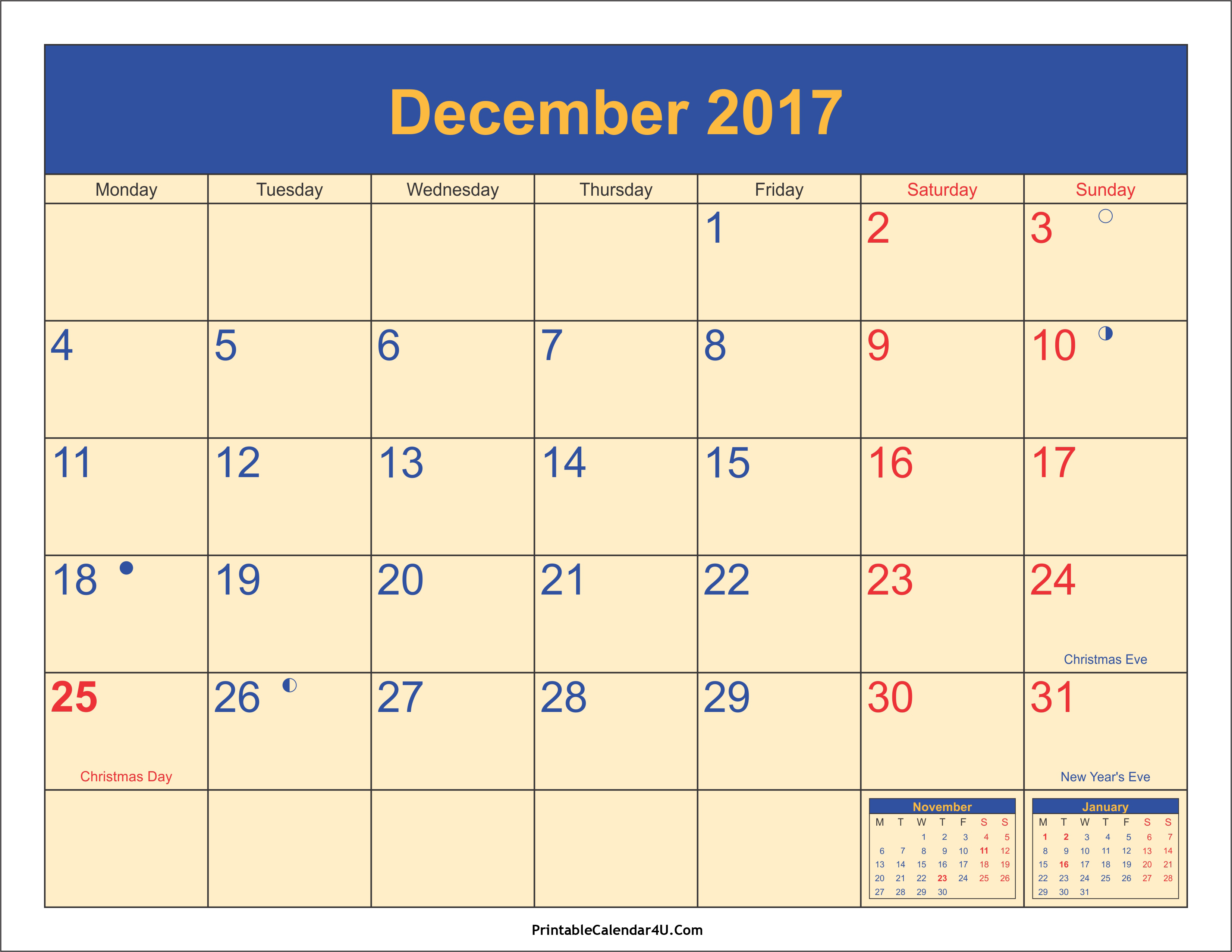 December 2017 Calendar Printable with Holidays PDF and