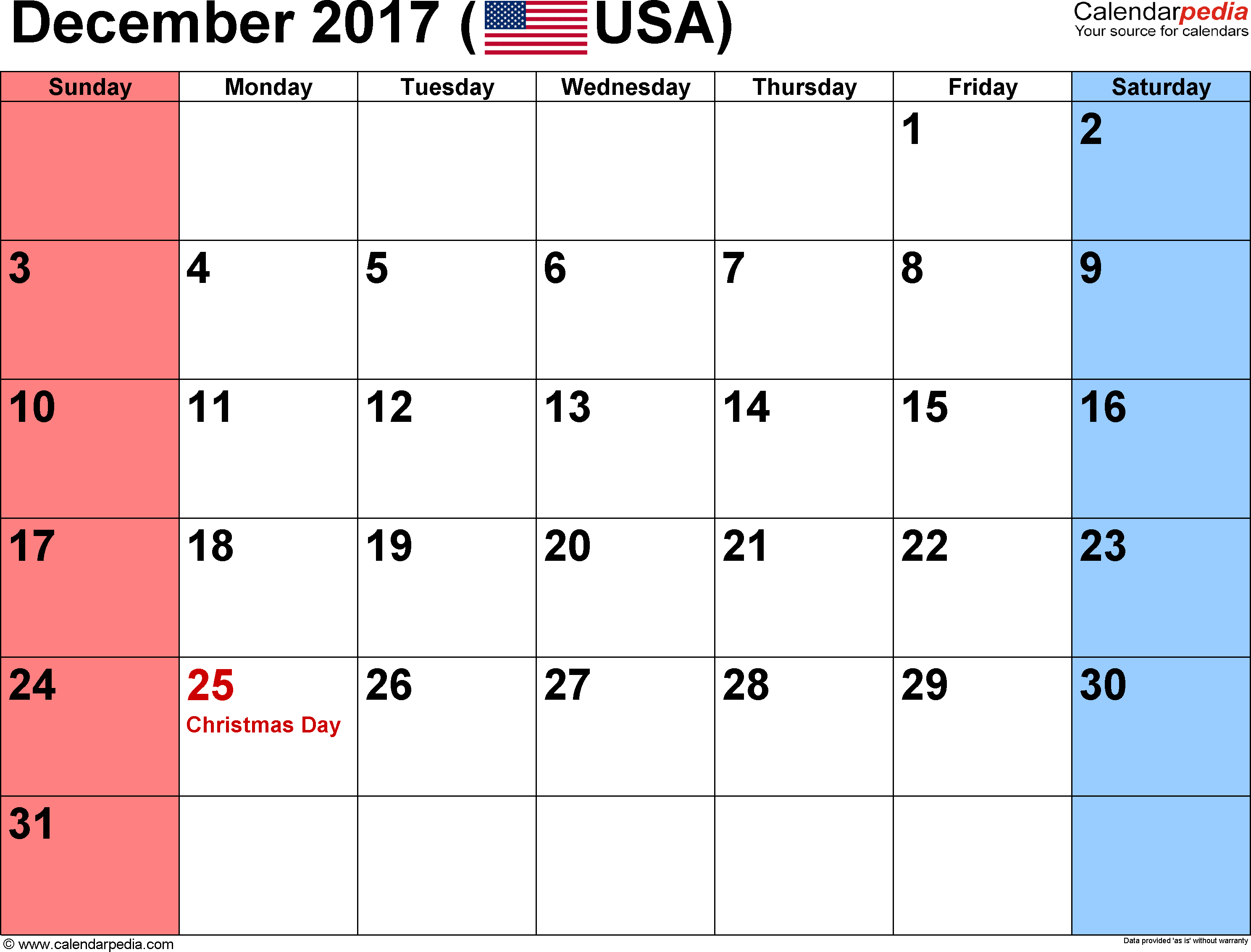 December 2017 Calendars for Word, Excel & PDF