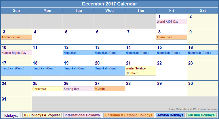 December 2017 Calendar With Holidays | printable calendar templates