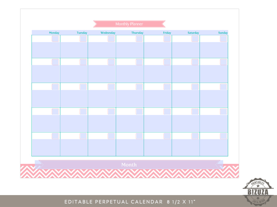Editable Monthly Calendar Planner Grid | Printable | Bizuza Printables