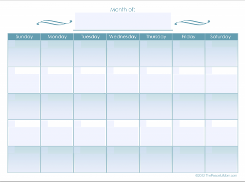 Monthly Calendar (editable) The Peaceful Mom