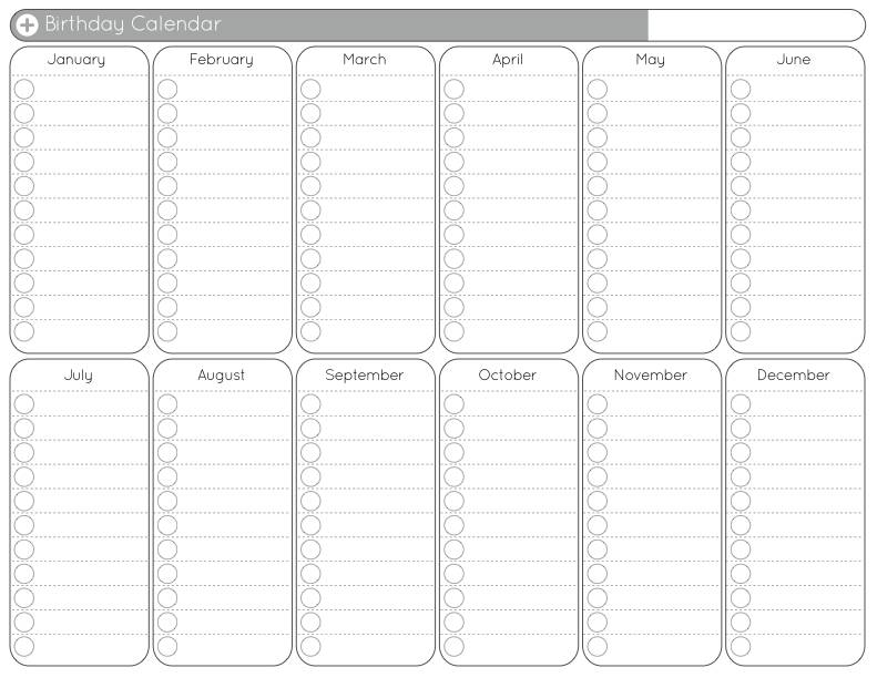 Blank Yearly Calendar Free printable calendar