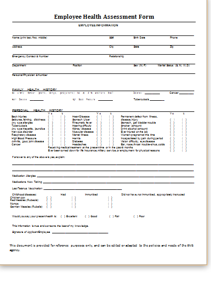 MS Word Health Assessment Forms Templates | Printable Medical