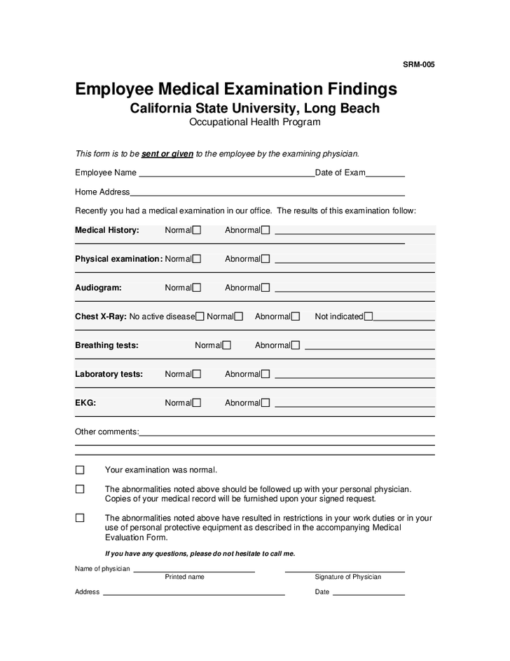 Employee Medical Examination Findings Hashdoc