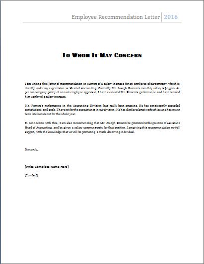 Job Recommendation Letter Template