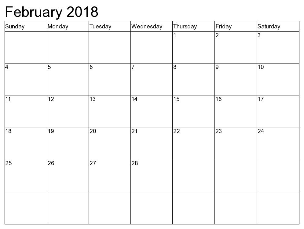 February 2018 Calendar Printable – 2017 printable calendar