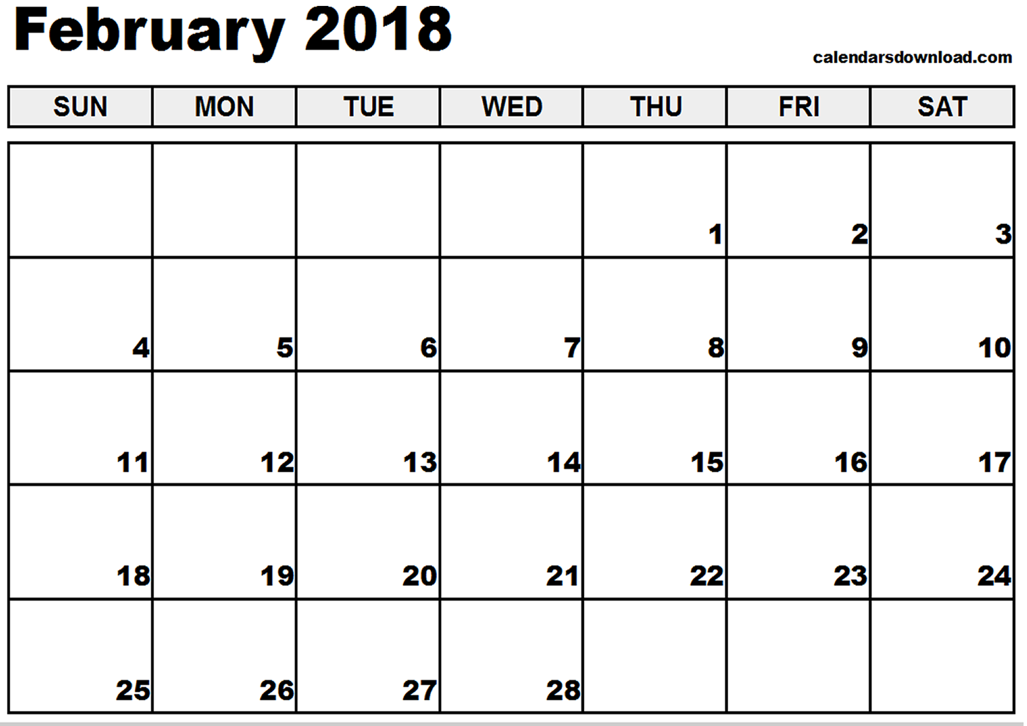 February 2018 Calendar | yearly calendar printable