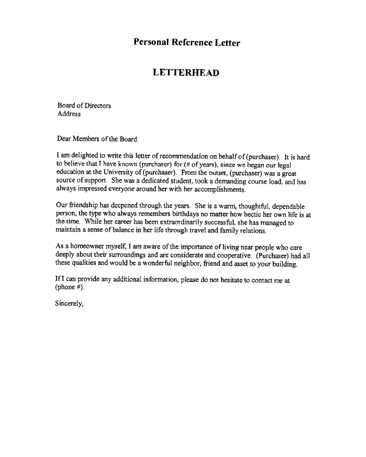 template reference letter serena Peg It Board