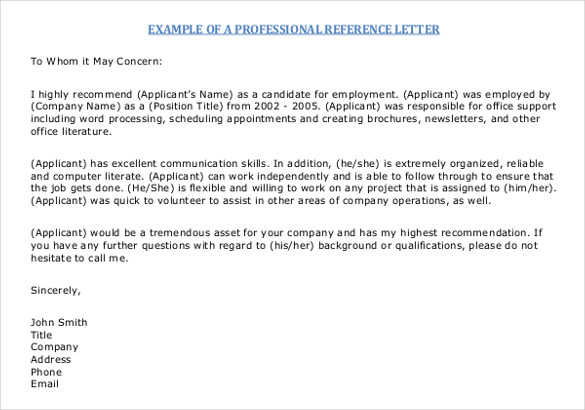 sample letter of reference free sample letter of recommendation template templates 24634