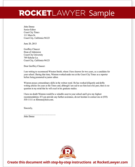Free Sample Recommendation Letter From Employer template for