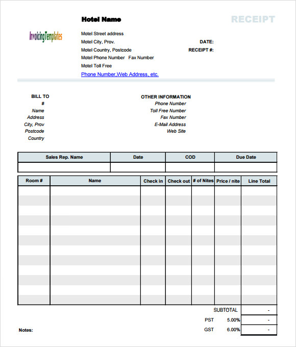 Sample Hotel Receipt Template 9+ Free Download for PDF , Word