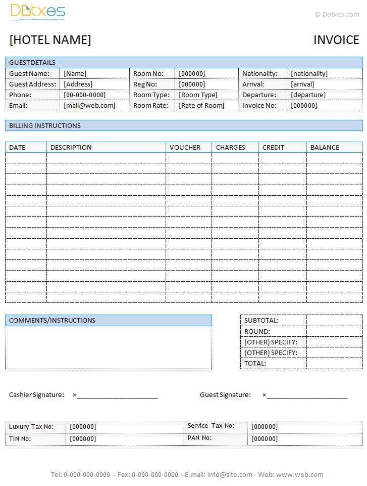 Hotel Invoice Template (in Microsoft Word®) Dotxes