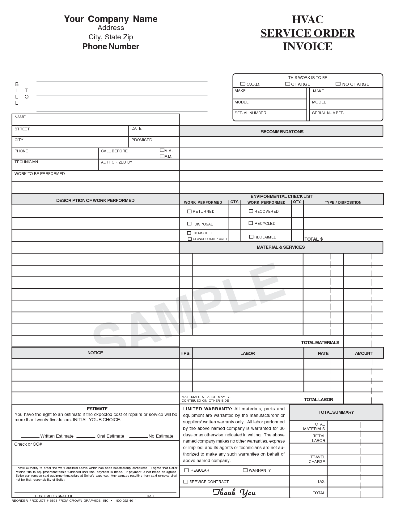 Hvac Invoice Template | printable invoice template
