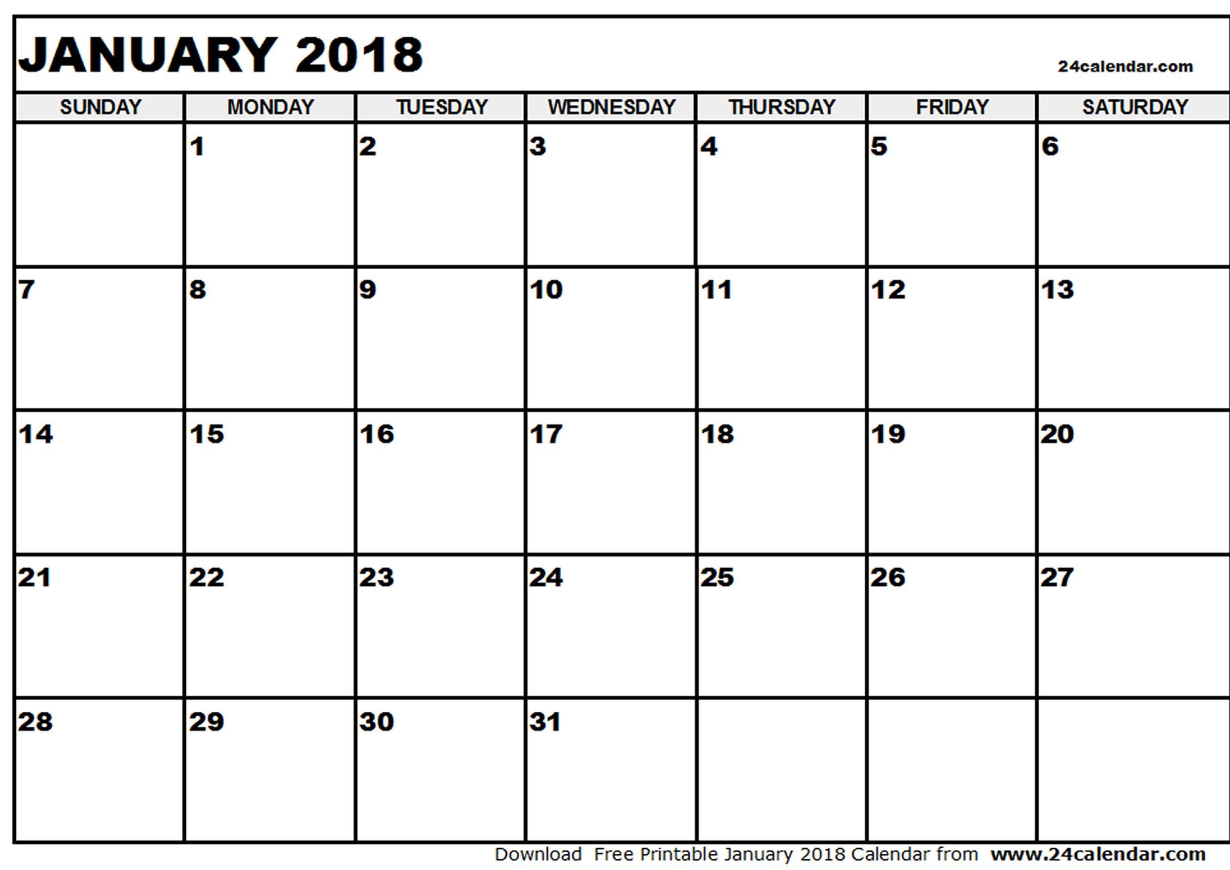Blank January 2018 Calendar in Printable format.