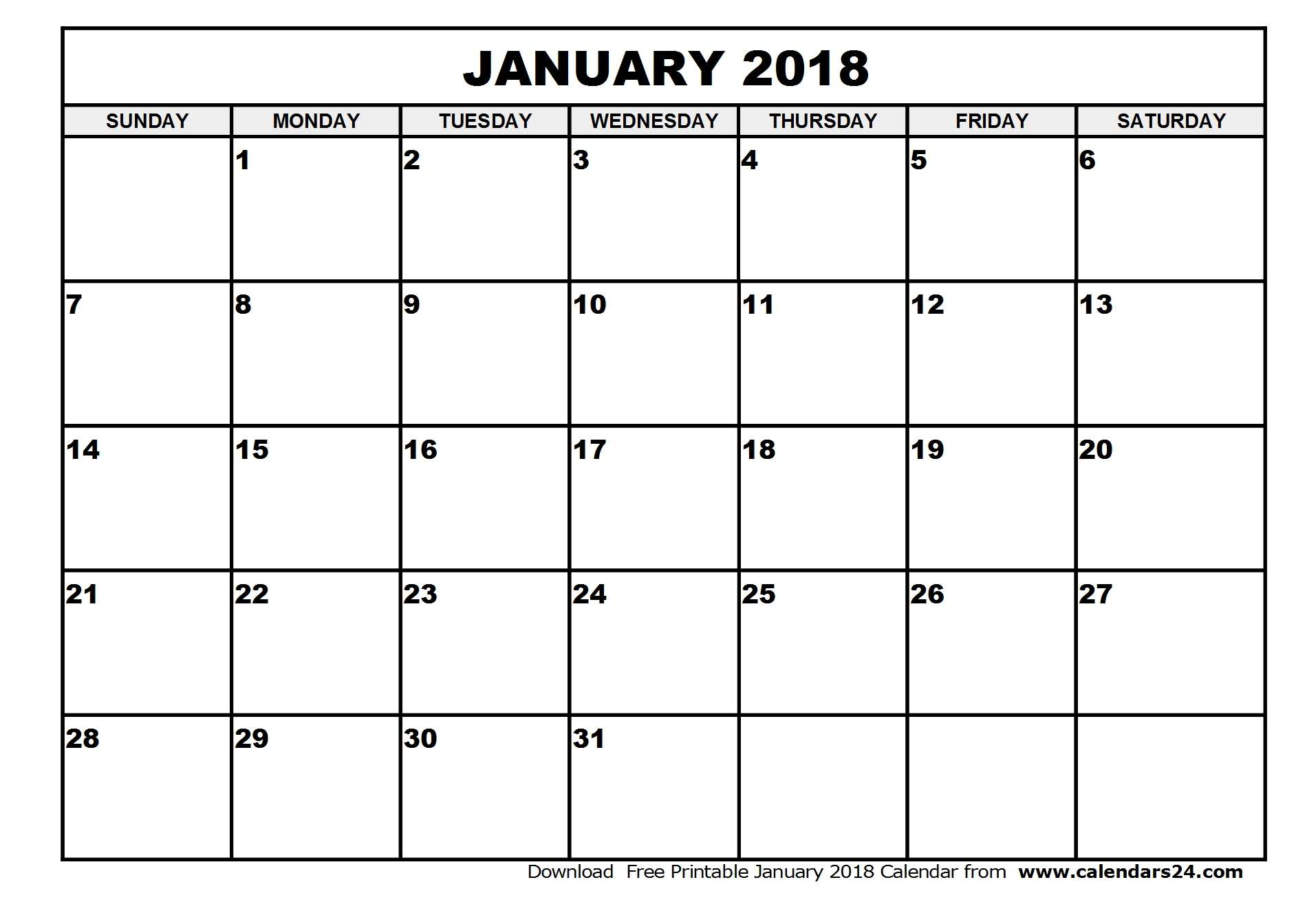 January 2018 Calendar & February 2018 Calendar