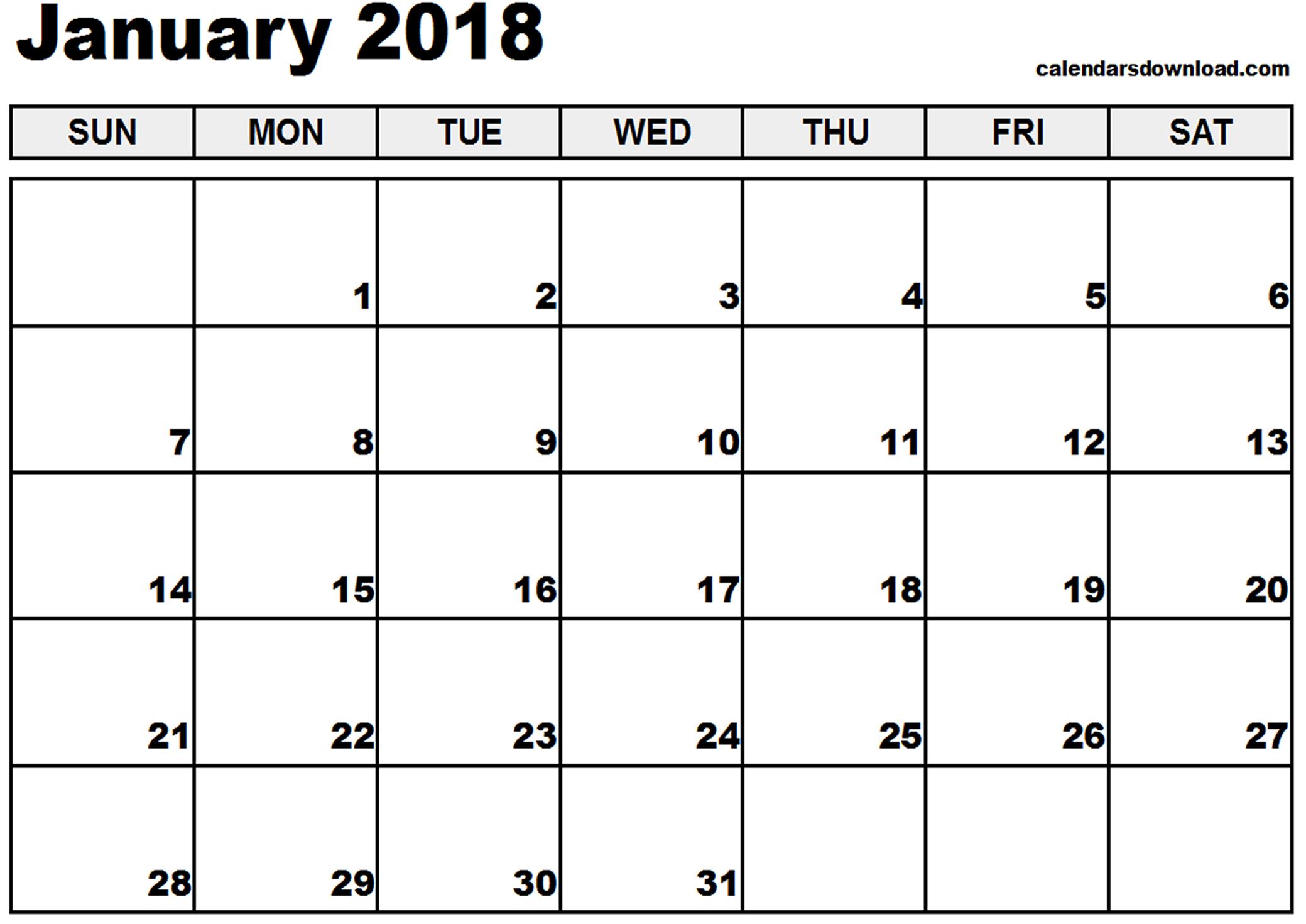January 2018 Calendar Printable | 2017 calendar with holidays