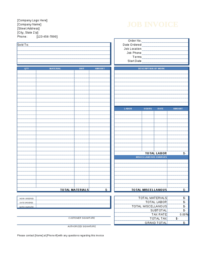 Job Invoice Template | printable invoice template