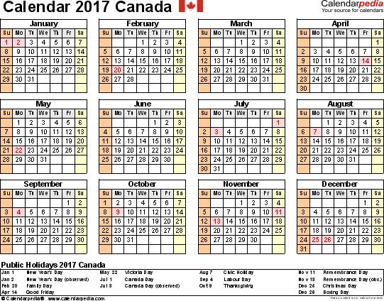Canada Calendar 2017 free printable Excel templates