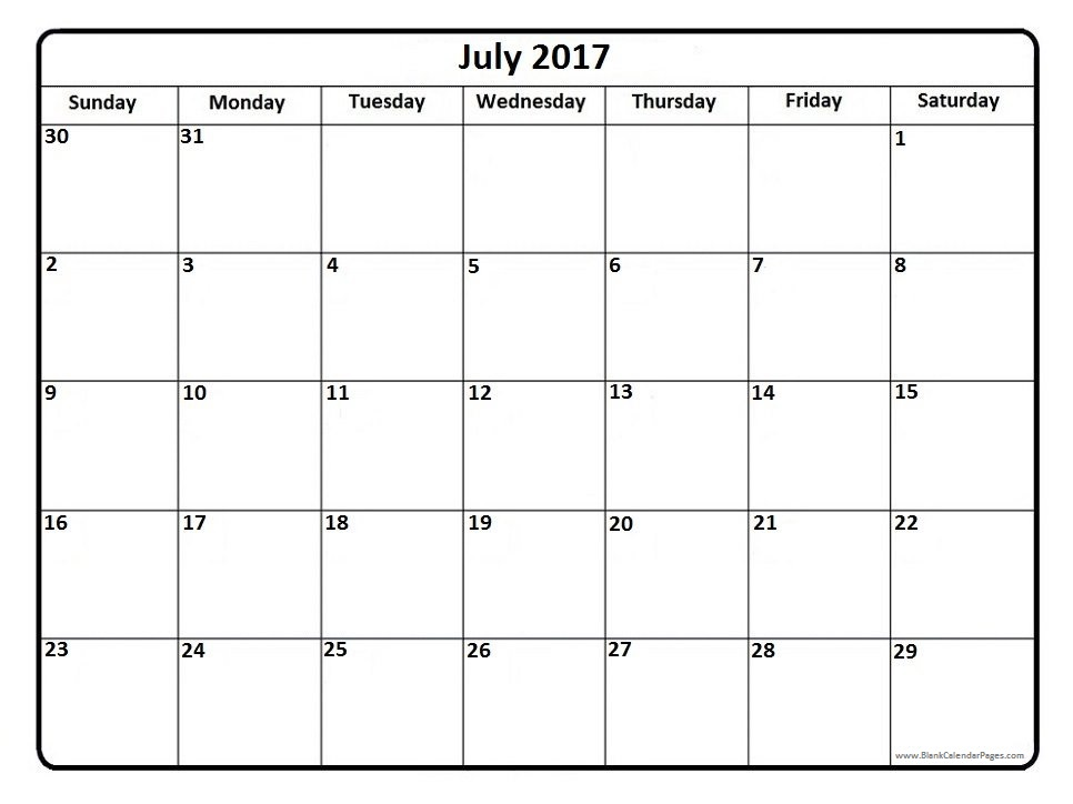 July 2017 Calendar – Calendar light