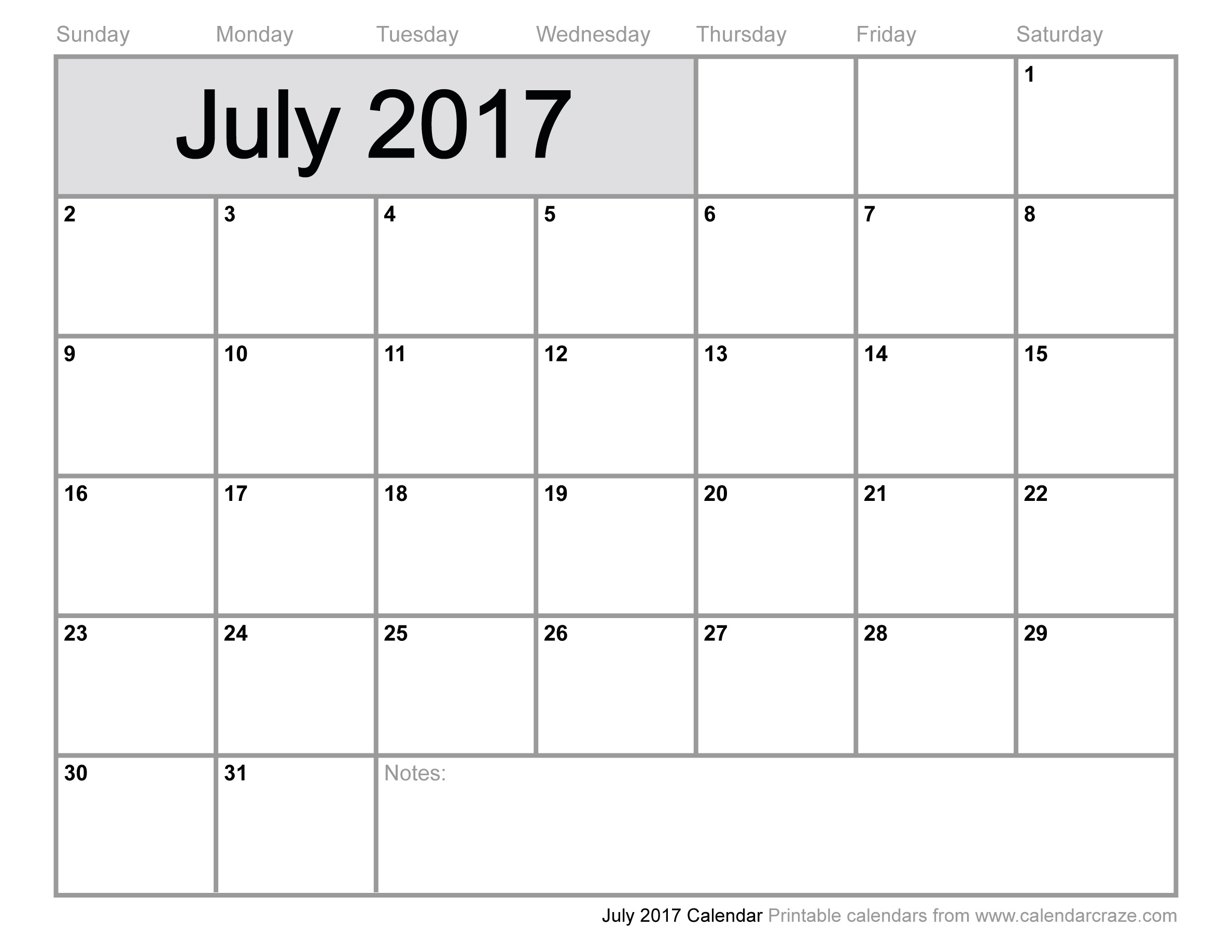 July 2017 Calendar Template | weekly calendar template