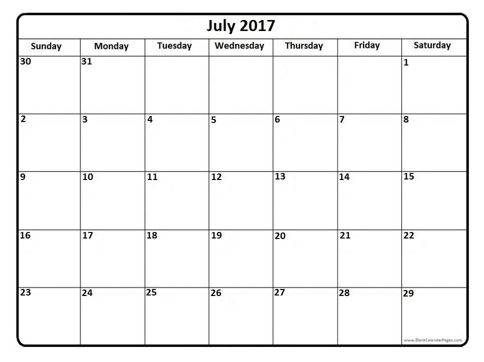 July 2017 Calendar – Calendar light