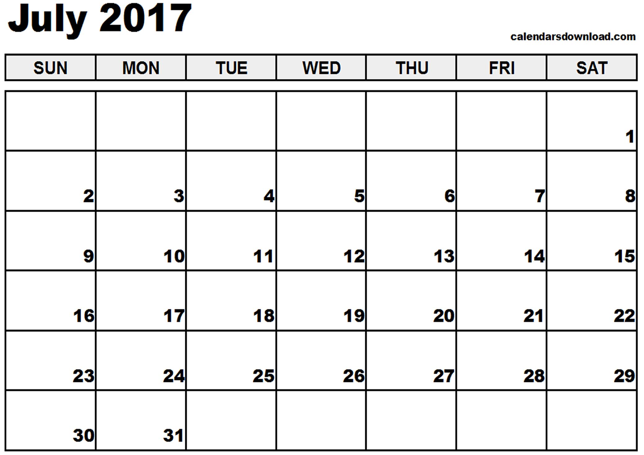 July 2017 Calendar | weekly calendar template