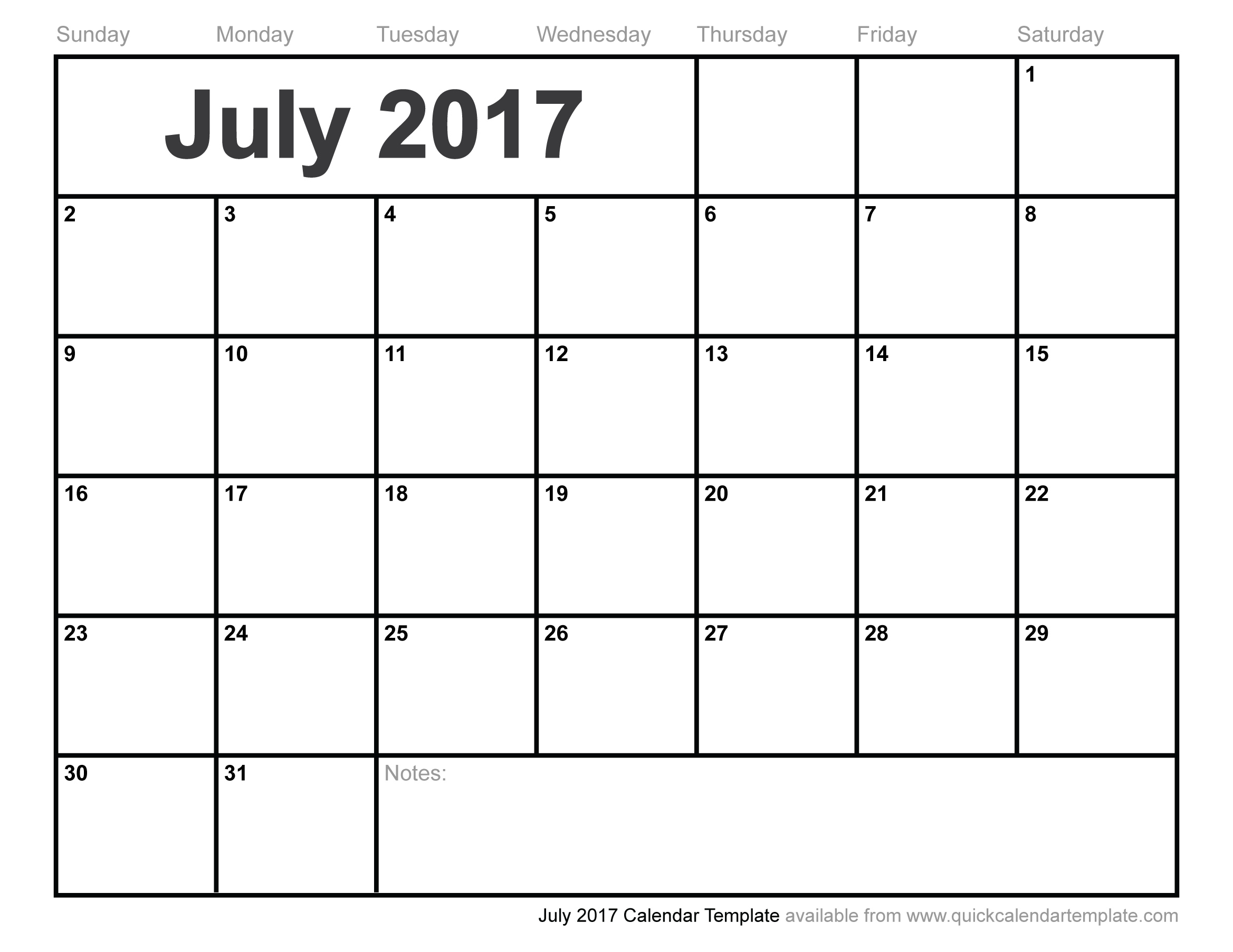 July 2017 Calendar Pdf | weekly calendar template