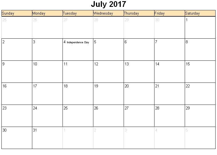 July 2017 Calendar Printable Pdf | free calendar 2017