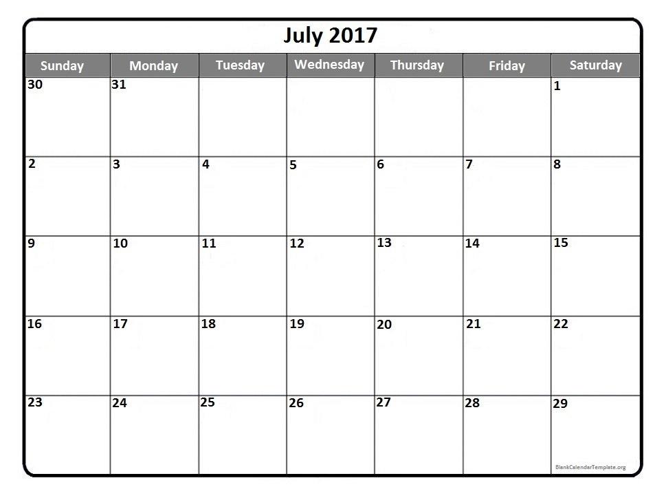 July 2017 Calendar Printable Holidays Template PDF