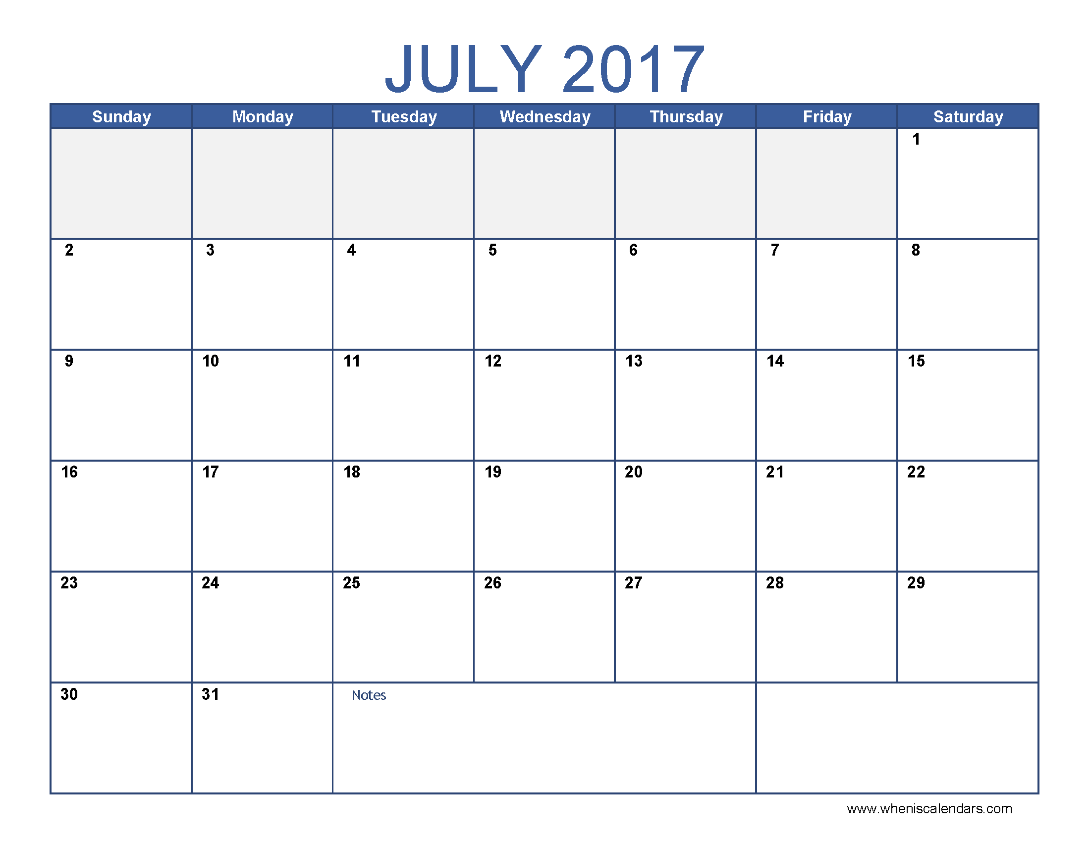 July 2017 Calendar Template | blank calendar printable