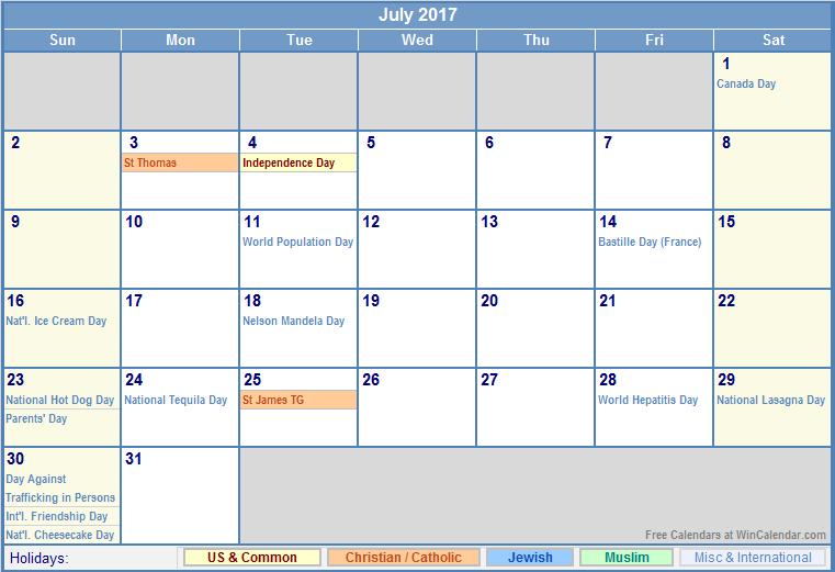 July 2017 Calendar With Holidays | free calendar 2017