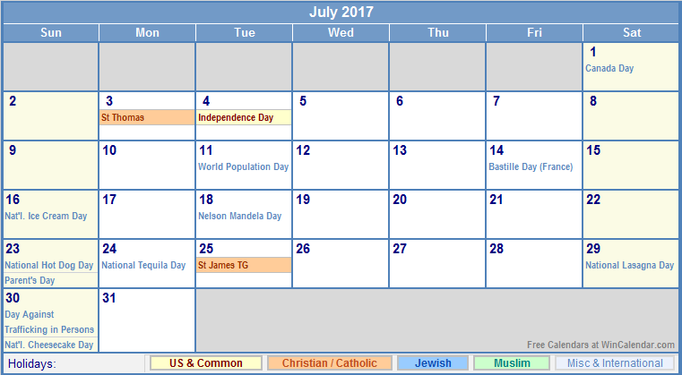 July 2017 Calendar With Holidays | weekly calendar template